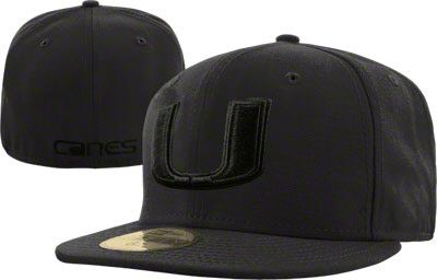 newest b32c5 22209 Miami Hurricanes Black New Era 59FIFTY Black on Black Fitted Hat