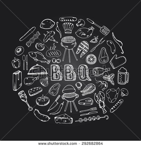 Food Design Template BBQ Party Restaurant Menu With Chalkboard Background