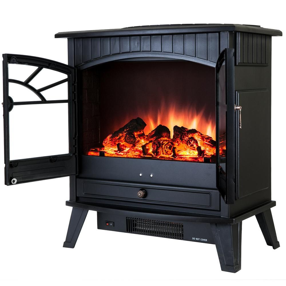 Akdy 23 In Freestanding Electric Fireplace Stove Heater In Black