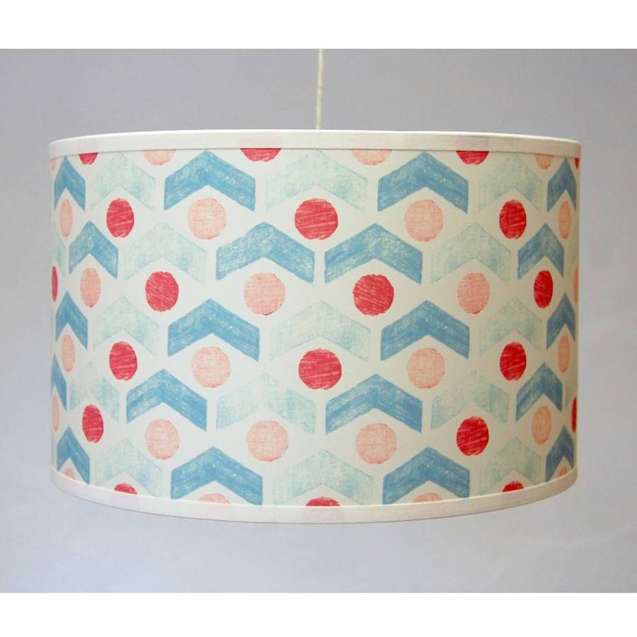 The Arrow dot<em> </em>lampshade would look fantastic in any living space. Taped edge drum lampshade. Can be fitted as either a ceiling light or for a lamp stand. Beautiful British-made product that will add colour and print to any living space. Colour may appear differently in our imagery in comparison to the actual product you will receive. This lampshade has been made for you in England.Lampshade parchment D 31cm x H 19cm