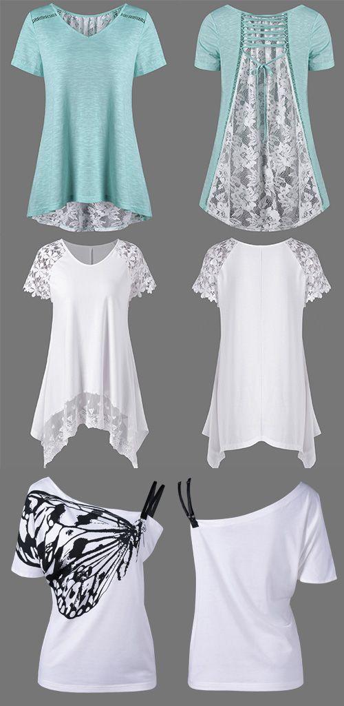 Floral High Low Hem Lace Up T-Shirt