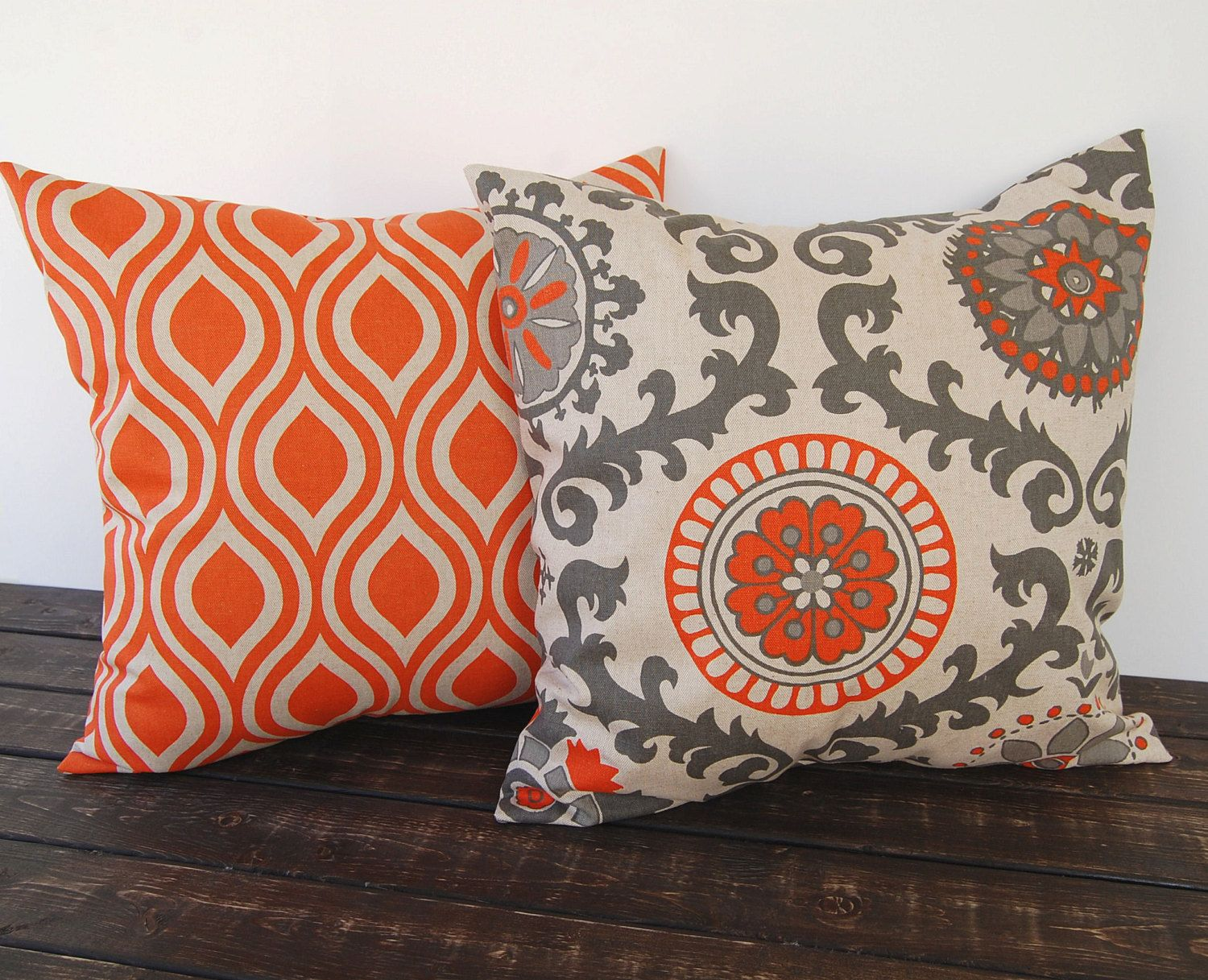 Pillow covers Pair 20 x 20 orange and oatmeal cushion cover decorative  beige throw pillow covers peacock modern pillow laken