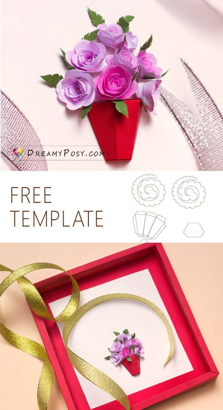 How To Make 3d Paper Flower Card With Free Template So Simple