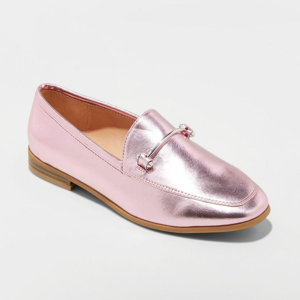 43a0d27ced7a Women s Perry Wide Width Metallic Loafers - A New Day Pink 9.5W ...