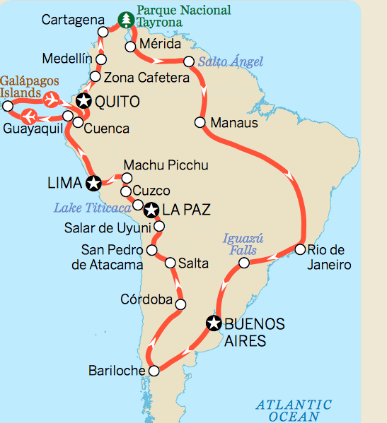 Backpacking In Central America: South America Itinerary Map, LP.