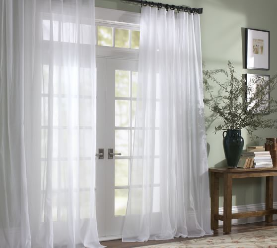 Classic Voile Sheer Drape Pottery Barn White Sheer Curtains
