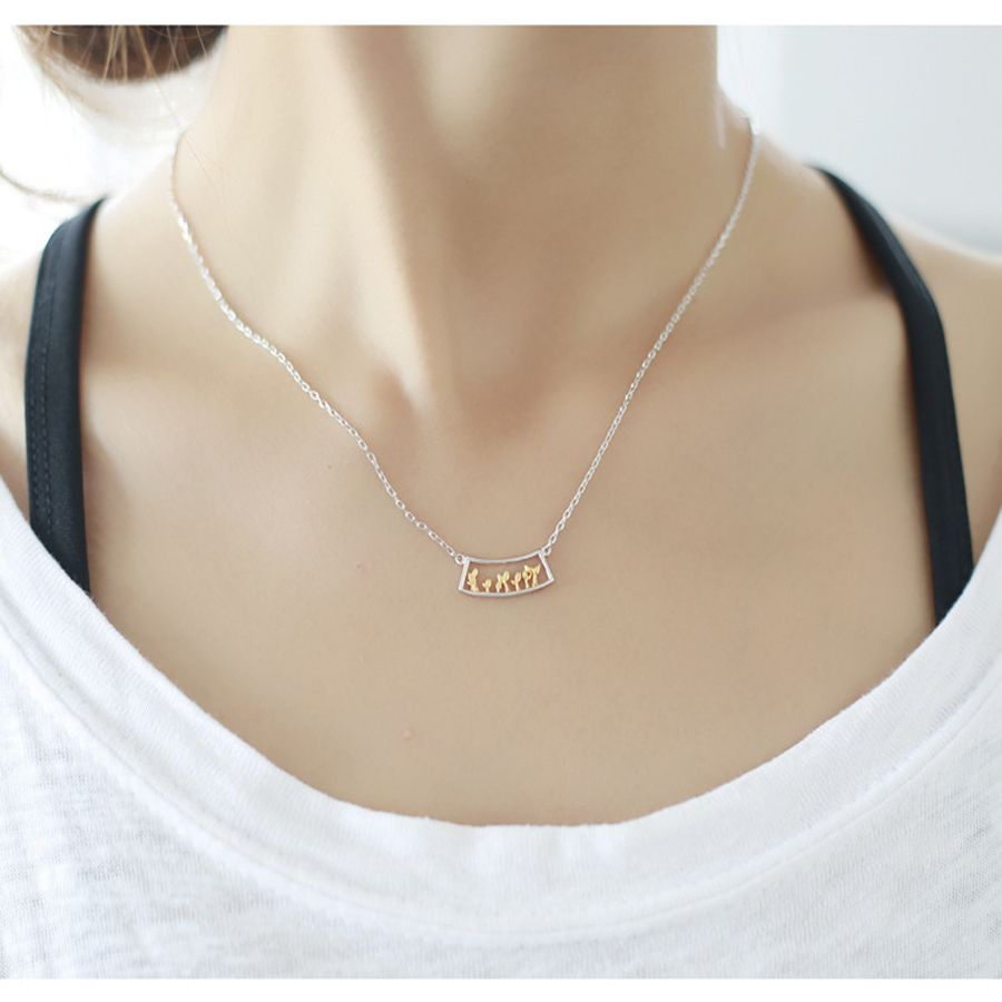 s925 Plant Flower Necklace Lady Fashion Jewelry Necklaces (Silver)