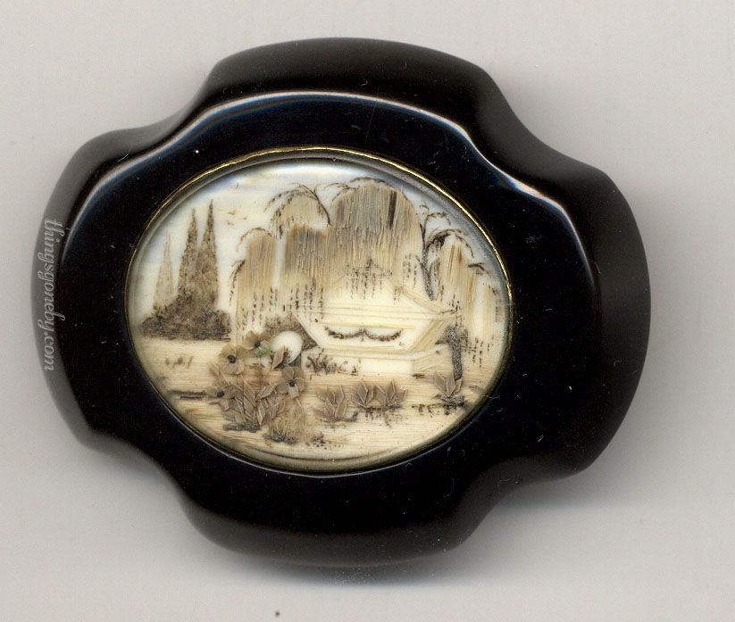 Whitby Jet Brooch With A Hair Work Tomb Scene On Ivory Is Mineraloid And Can Be Considered Minor Gemstone It Isnt True Mineral Since