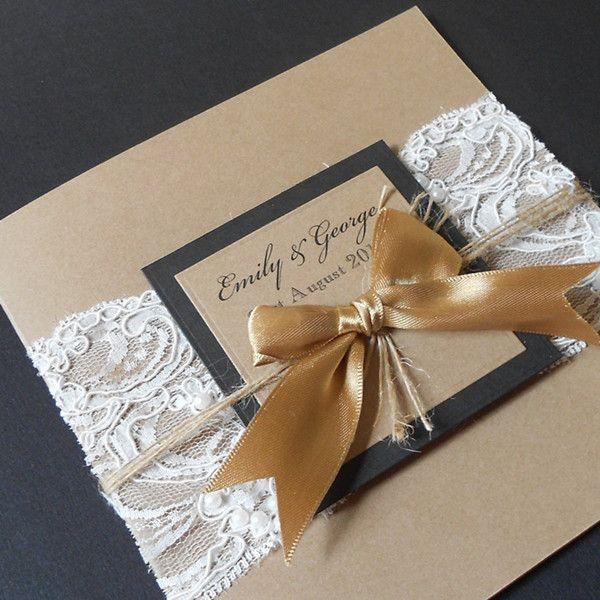 jute einladungskarten hochzeit mit golden schleife jute, Einladungsentwurf