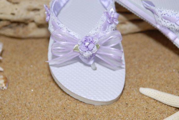 2773421949d6 Lace Lavender Flower Flip Flops L 3 by GitanaBridal on Etsy