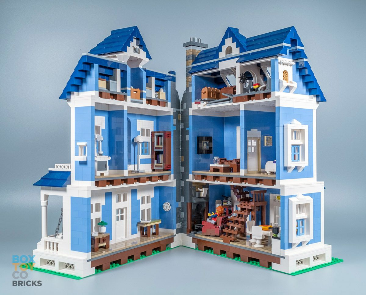 A medium blue custom lego victorian house modular with for Custom built victorian homes