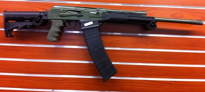 SAIGA WITH MAGWELL AND OD GREEN HOGUE GRIP