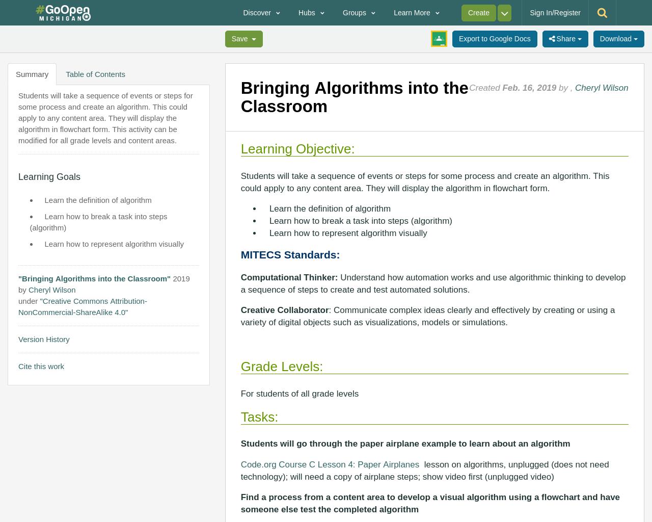 Bringing Algorithms into the Classroom Algorithm