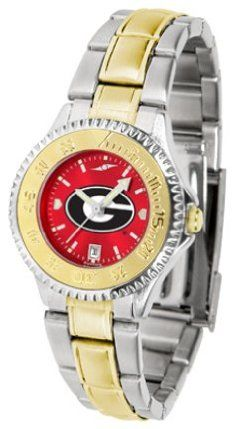 Georgia Bulldogs Competitor AnoChrome Ladies Watch with Two-Tone Band by SunTime. $100.88. The ultimate NCAA fan's statement, this Georgia Bulldogs Competitor Two-Tone timepiece offers women a classic, business-appropriate look. Features a 23kt gold-plated bezel, stainless steel case and date function. Secures to your wrist with a two-tone solid stainless steel band complete with safety clasp.The AnoChrome dial option increases the visual impact of any watch with a stun...