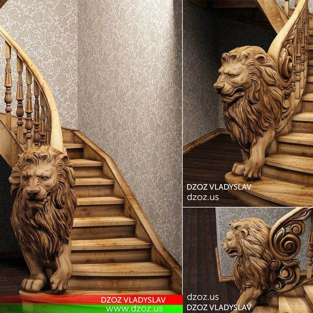 Details About ️️bas Relief Lion For Stairs Wood Carved 3d