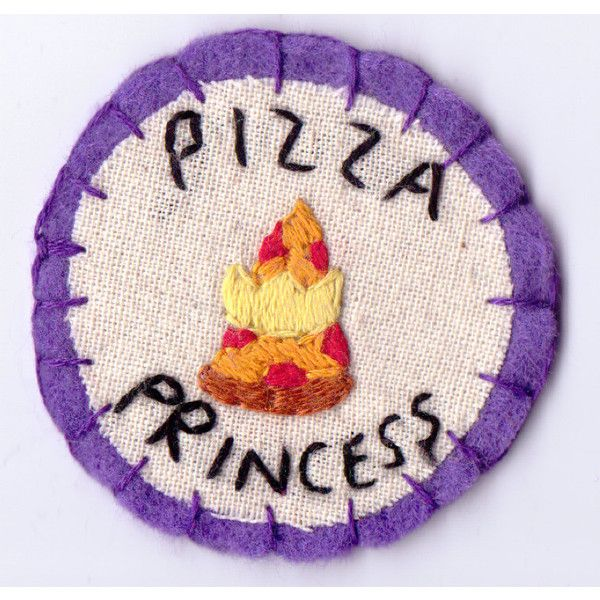 Purple Pizza Princess Patch ($12) ❤ liked on Polyvore featuring fillers, patches, pictures, badges, other and backgrounds