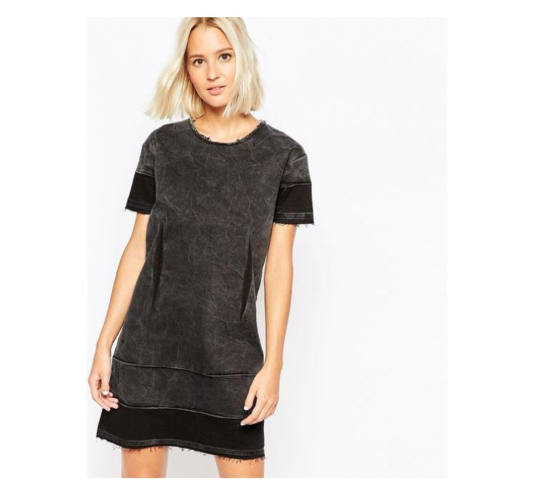 Check out this product: Cheap Monday Raw Edge Denim T-Shirt Dress - Black #villoid