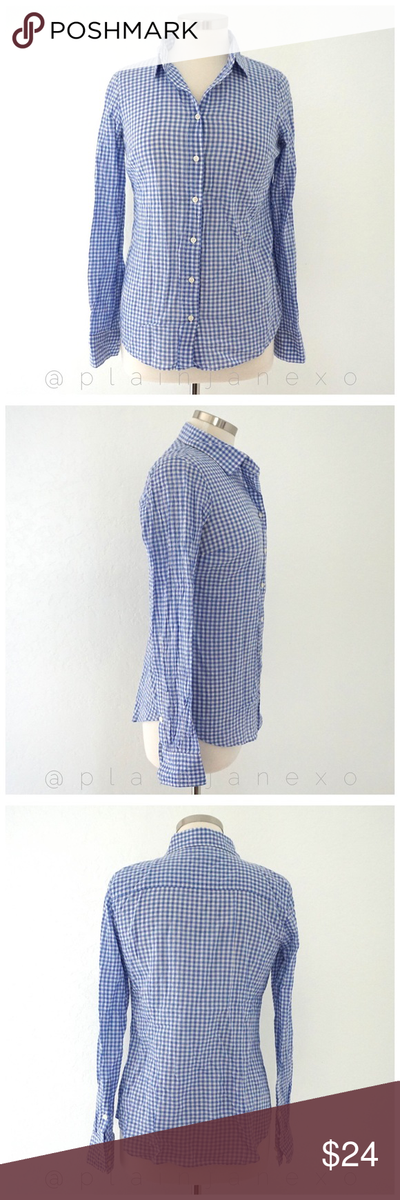 """J crew suckered gingham classic button down Like new condition. Size: XS. Bust: 36"""", sleeve length: 24"""", length: 25"""". Machine wash J. Crew Tops Button Down Shirts"""