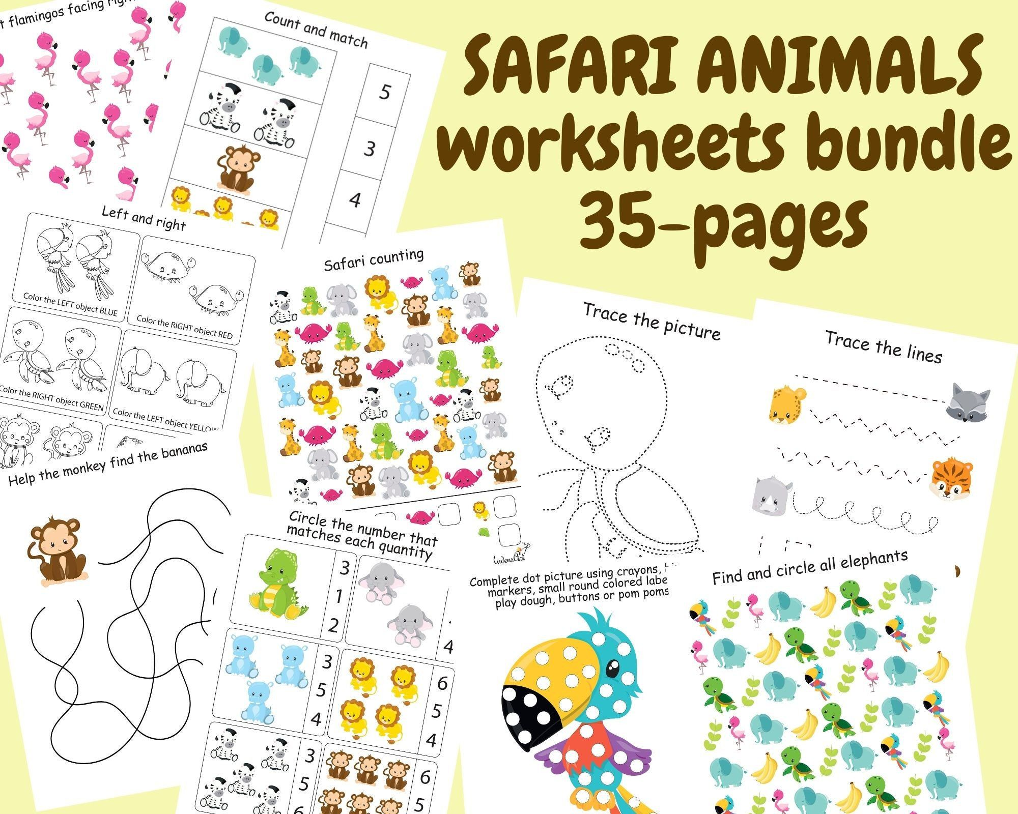 Safari Animals Worksheets Bundle Preschool Printables