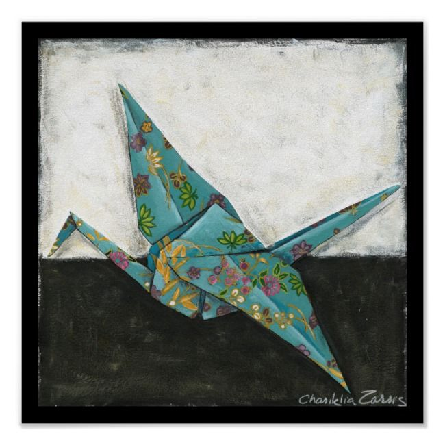 Origami Crane with Floral Designs Poster