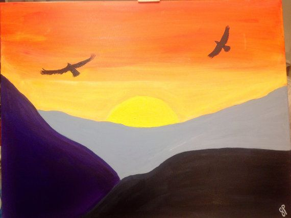 Original Large painting On 22x28 Canvas  Eagles by ColoradoColors, $99.00
