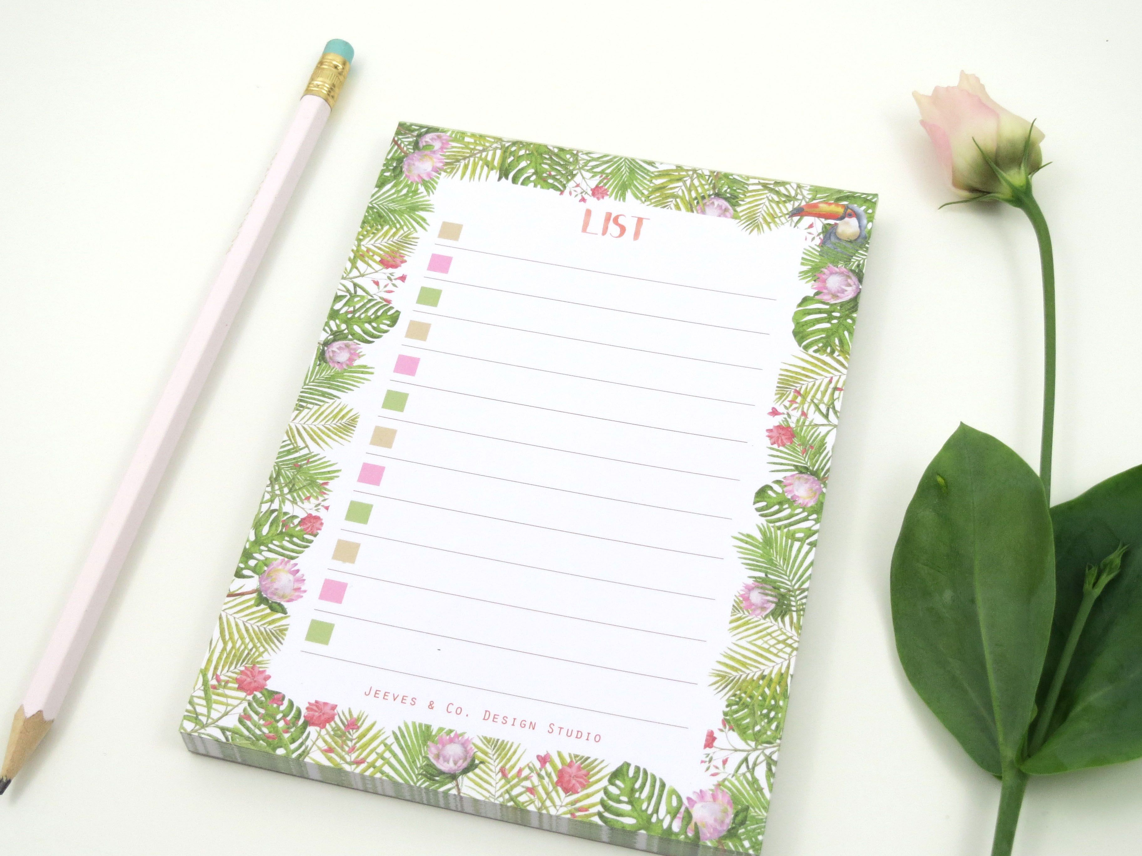 List pad from Jeeves u Co Design Studious Jungle range Designed in