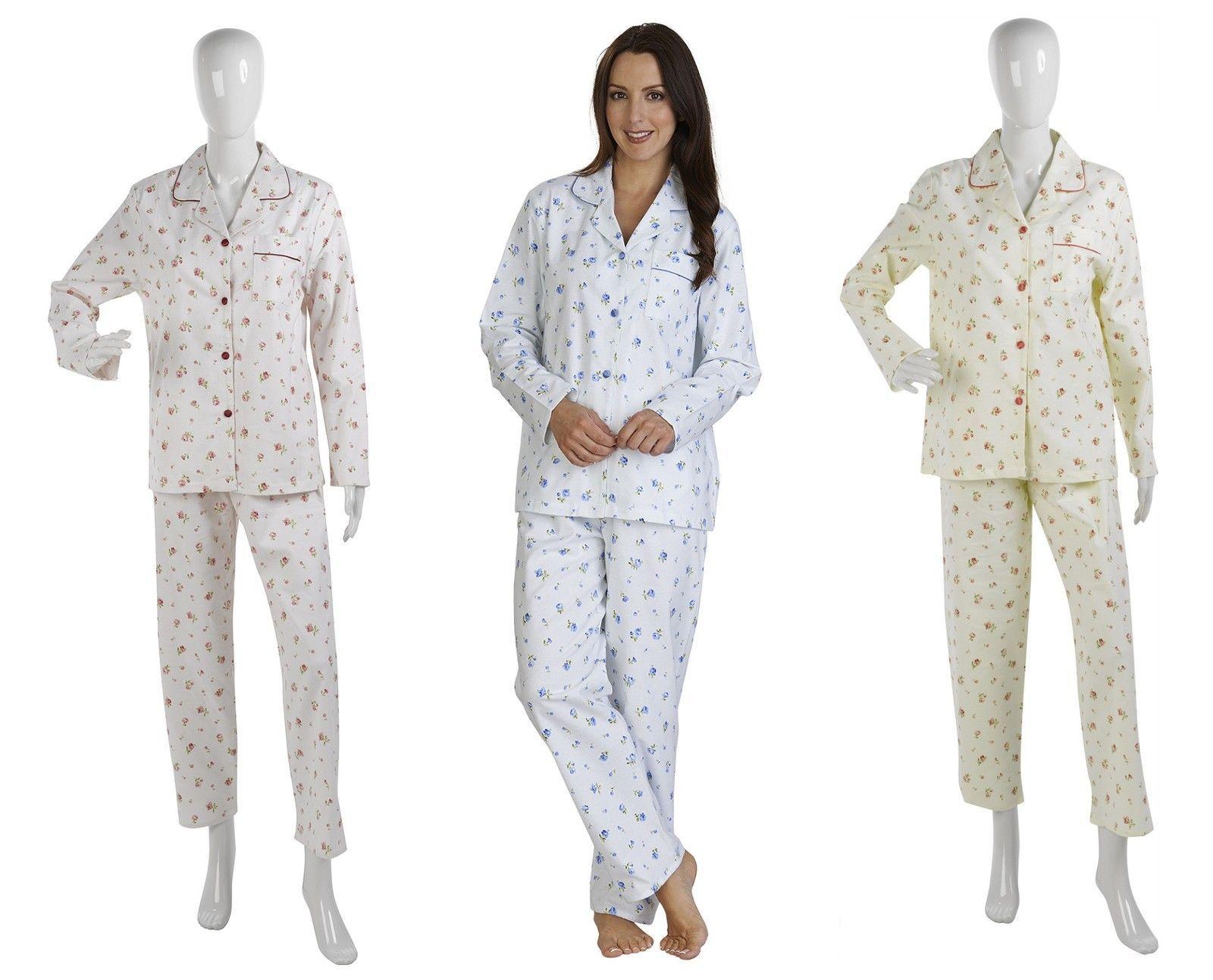 c5f501df9a Womens Slenderella Flower Design Pjs 100% Brushed Cotton Long Sleeved  Pyjamas