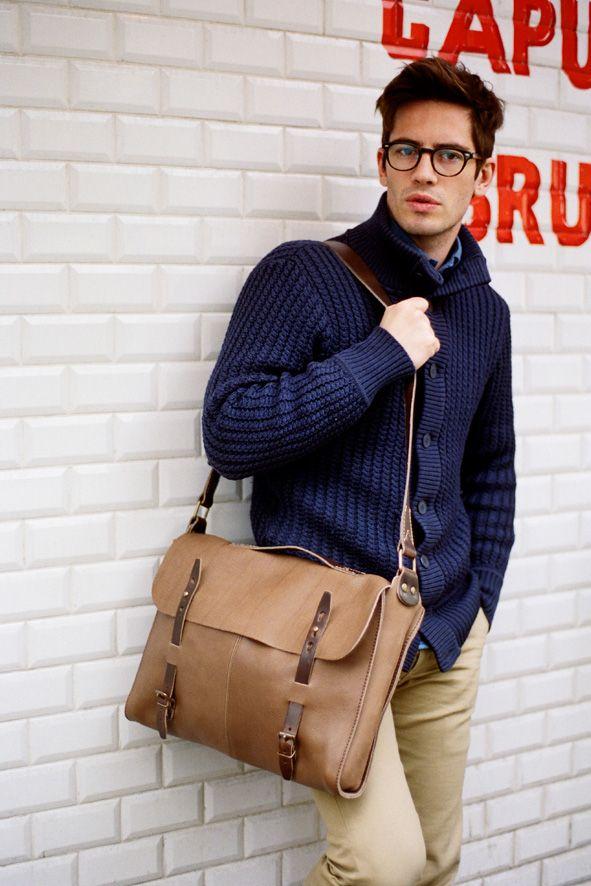 Bleu de Chauffe | Men | Leather messenger bag | Forester Bag Joplin | Made in France