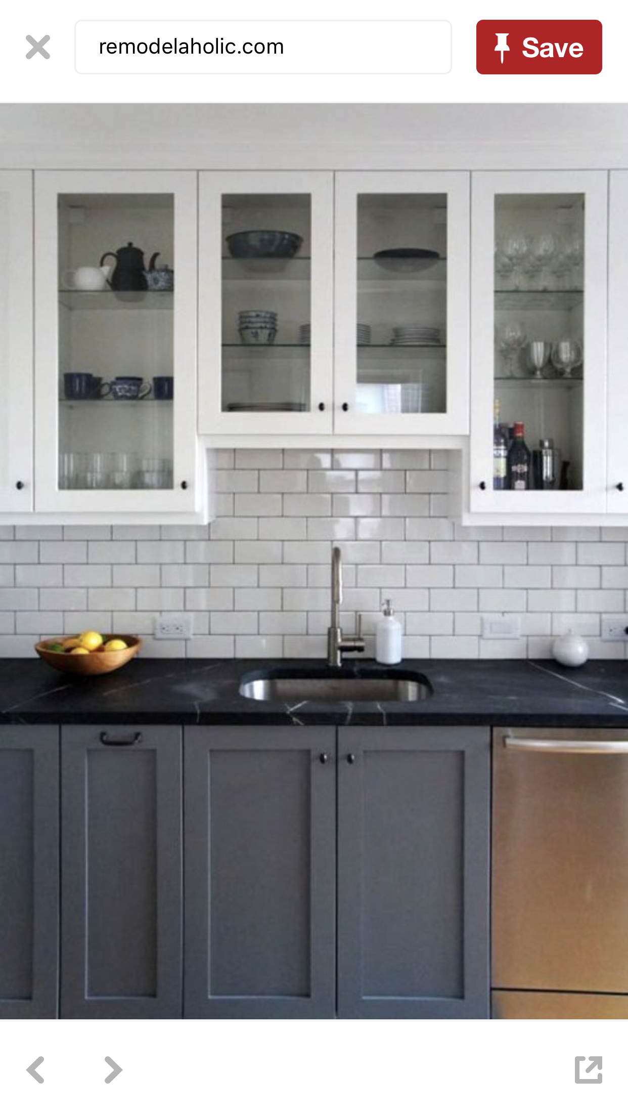 Grey Base Cabinets With Black Countertops White Wall Cabinets With Clear Glass Gray And White Kitchen New Kitchen Cabinets Home Kitchens