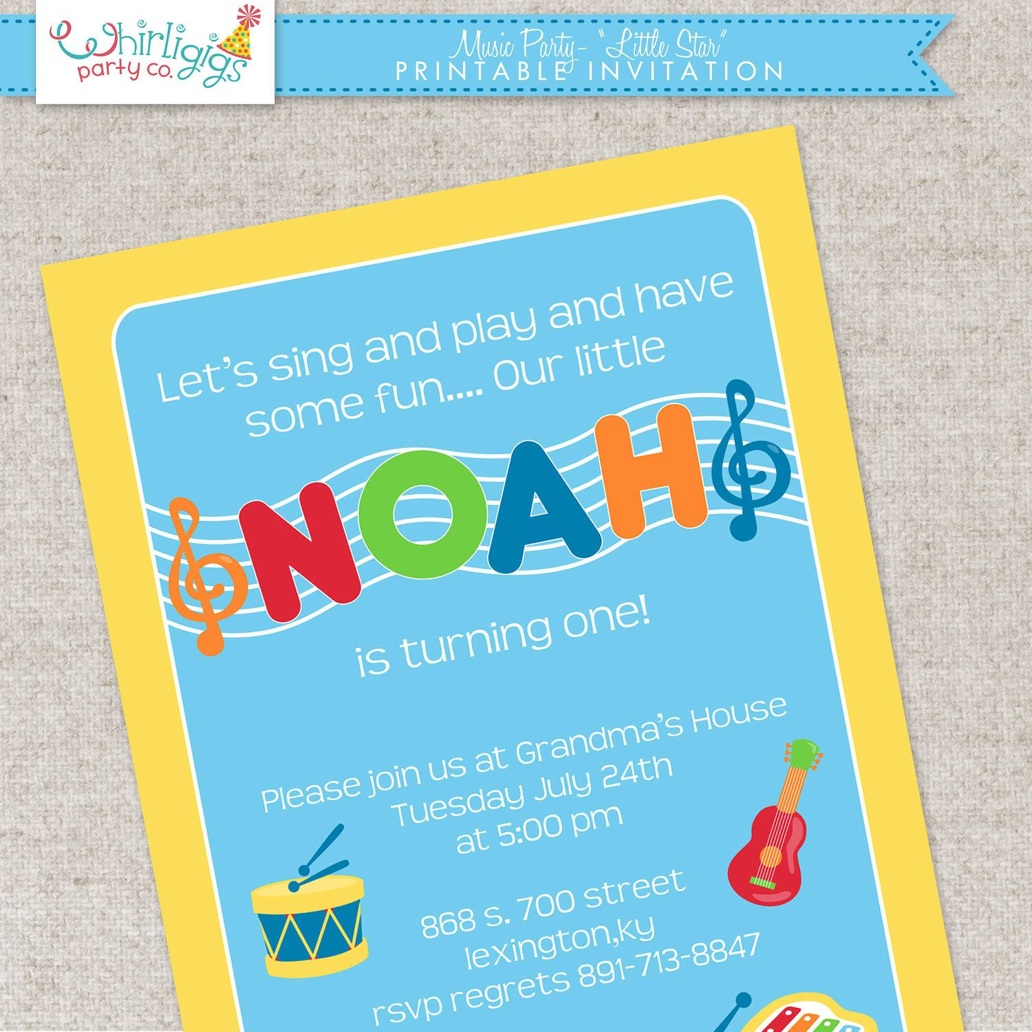 Music Party Invitation - Printable Digital File or Printed ...