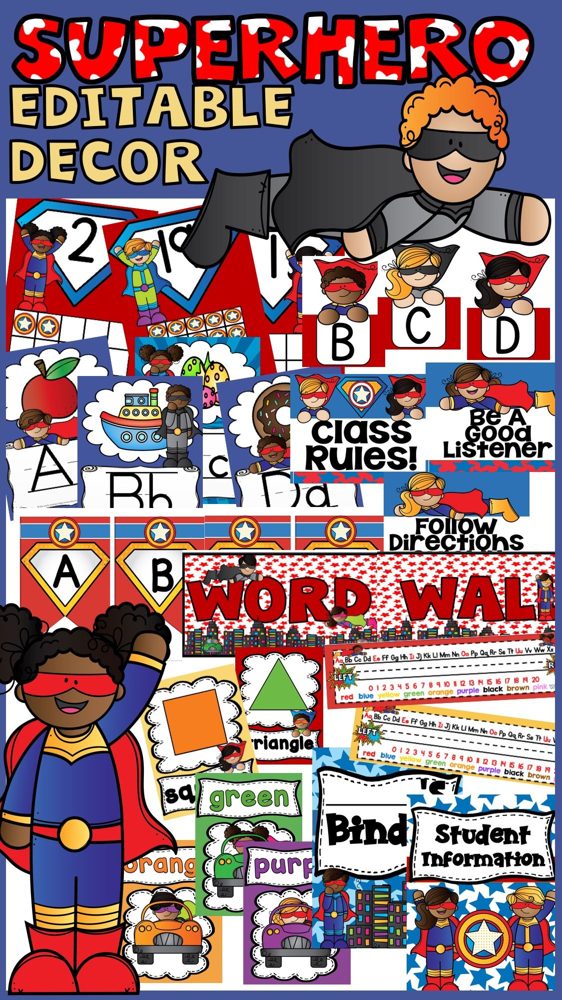 superhero classroom theme decor bundle editable super hero