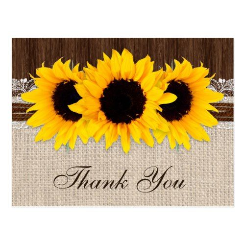 Country Wedding Thank You Cards Rustic Sunflower Wedding Thank You Postcard