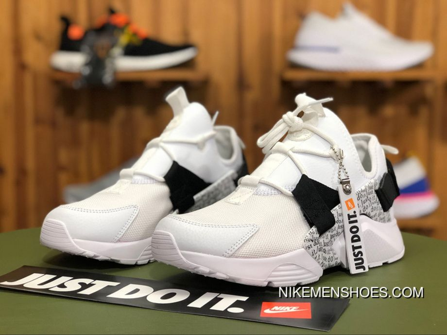 "Nike Air Huarache City Low ""Just Do It"" AO3140-100 White Black-Total Orange  Super Deals bb80dc99a"