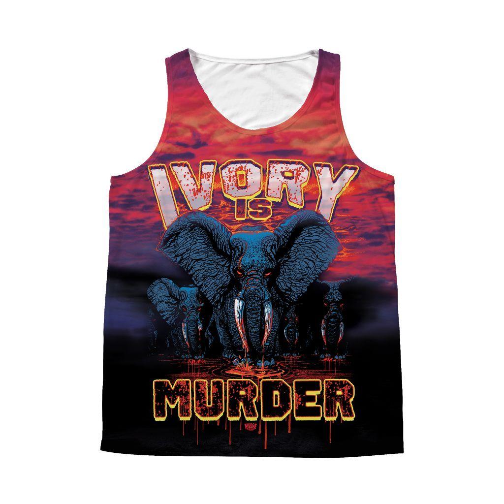 Ivory is Murder Elephant Herd All Over Print Tank
