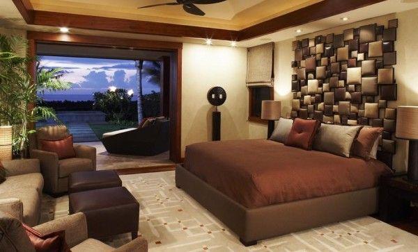 Wandgestaltung Schlafzimmer Ideen Polsterwand Quadraten Erdtöne