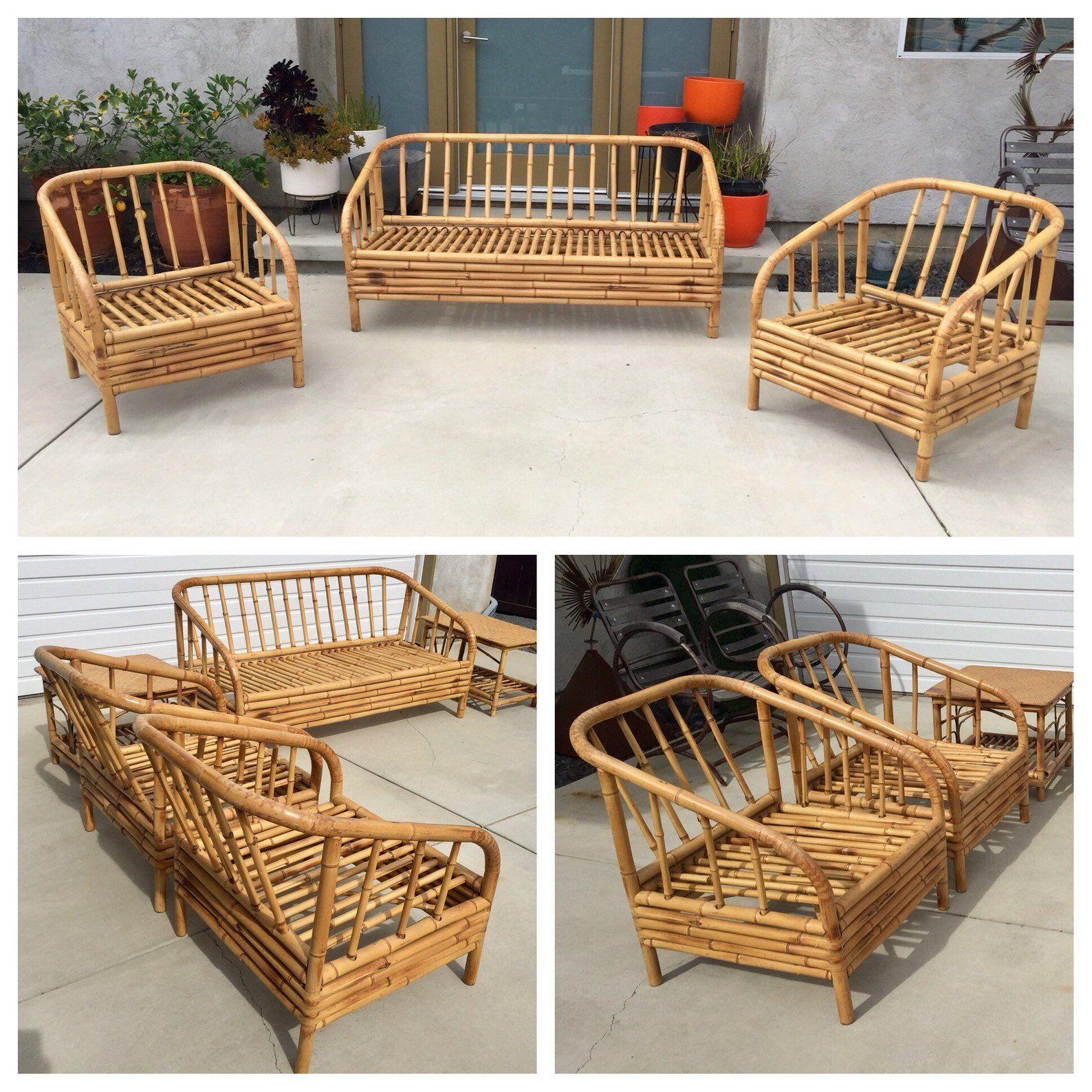Bamboo Sofa Chairs Tables Living Area Seating Set 1 Sofa Etsy Bamboo Sofa Bamboo Furniture Outdoor Furniture Sofa Set
