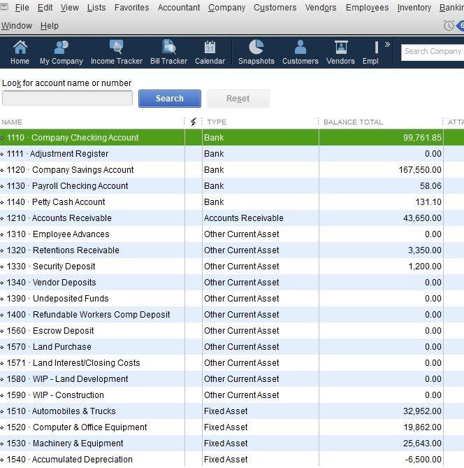 sample expense accounts in quickbooks