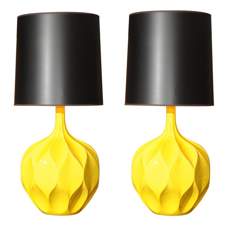 Pair of gorgeous yellow lamps pinterest lights interiors and gorgeous yellow lamps by monument httpgoodbonesgreatpieces201102table lamps pop aloadofball Gallery