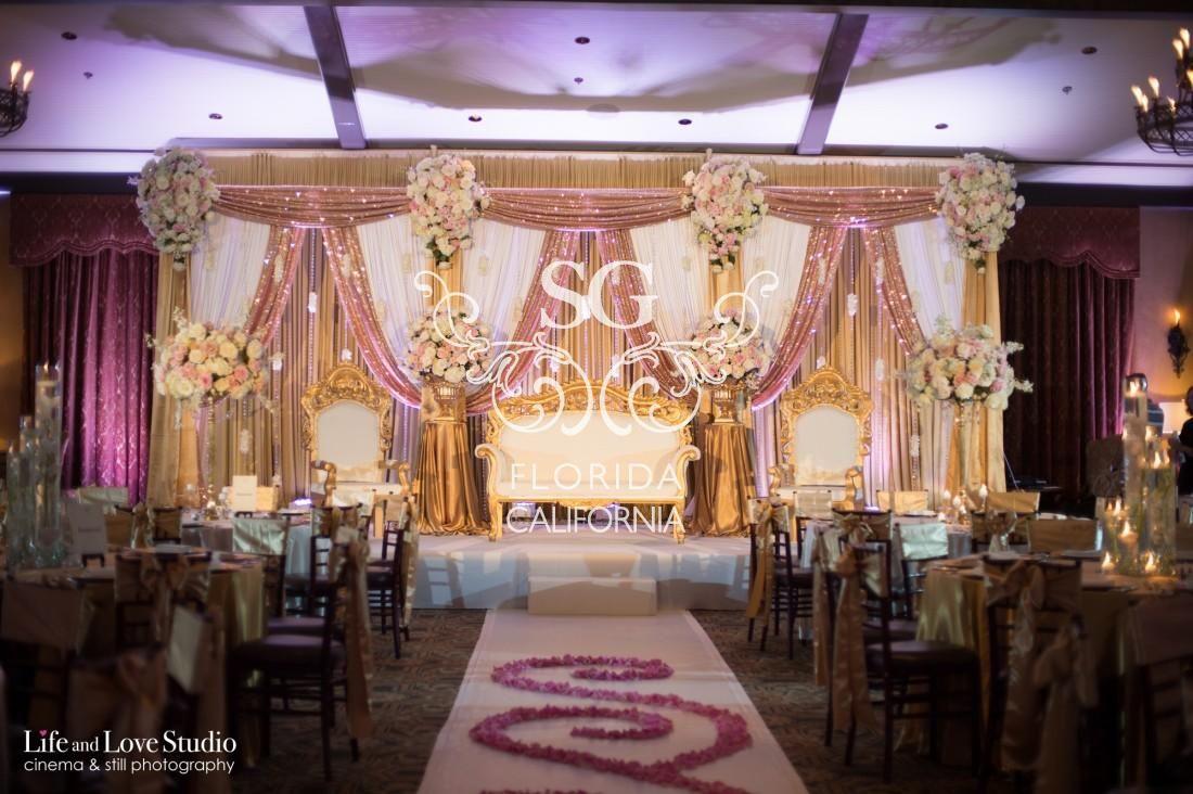Suhaag Garden Indian Wedding Reception Modern Reception Stage Gold