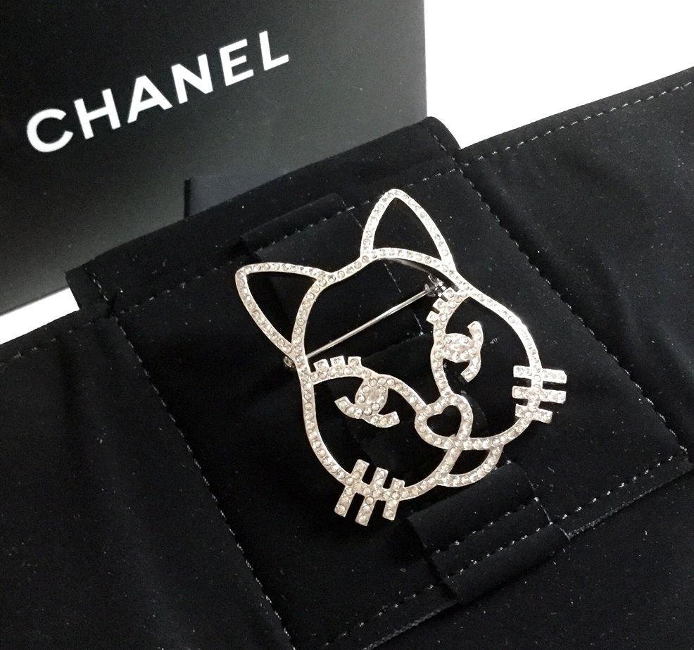 e40e2f4e9fbd #CHANEL CHOUPETTE CAT EMOJI/ CRYSTAL CAT Brooch , Limited Edition/VERY hard  to find .
