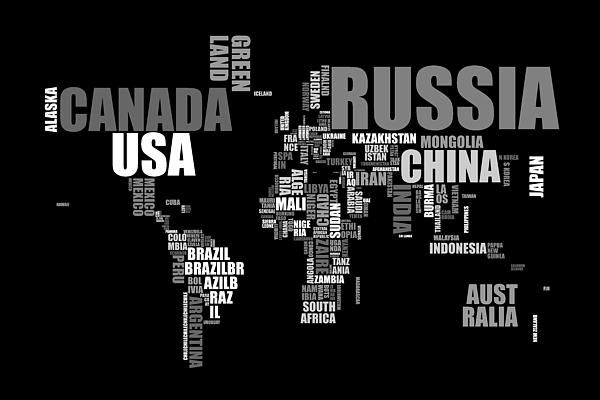 World map in words digital art michael tompsett pinterest world map in words digital art gumiabroncs Image collections
