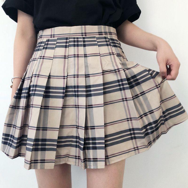 37ba8097d BEIGE BLACK GRID PLEATED SKIRT | Skirts♡ | Skirts, Dress skirt ...
