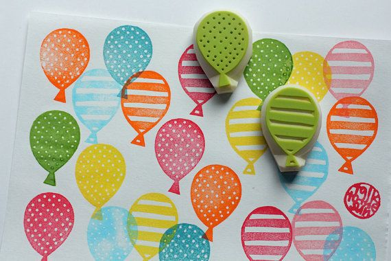 Balloon rubber stamps | party pattern stamps | hand carved stamps for birthday, baby shower, diy, card making, party favor bags, art journal #rubberstamping
