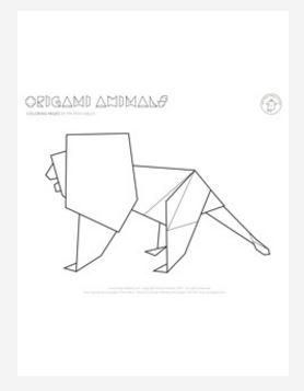 Youll Love Bringing The King Of Jungle To Life With This Origami Lion Coloring Page Free Showcases A Unique