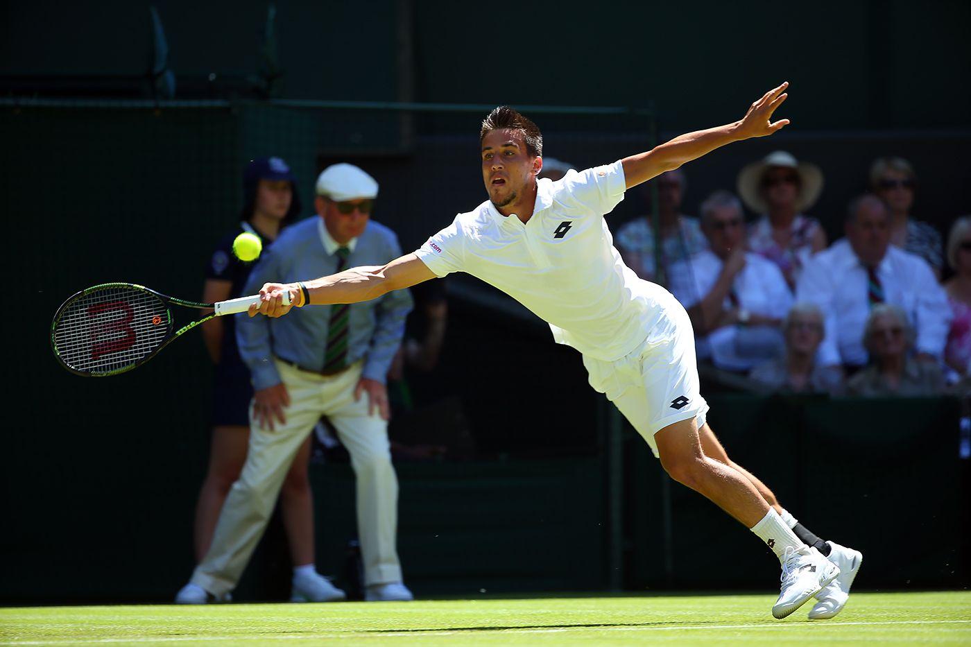 Damir Dzumhur on Centre Court. Eddie Keogh/AELTC Wimbledon