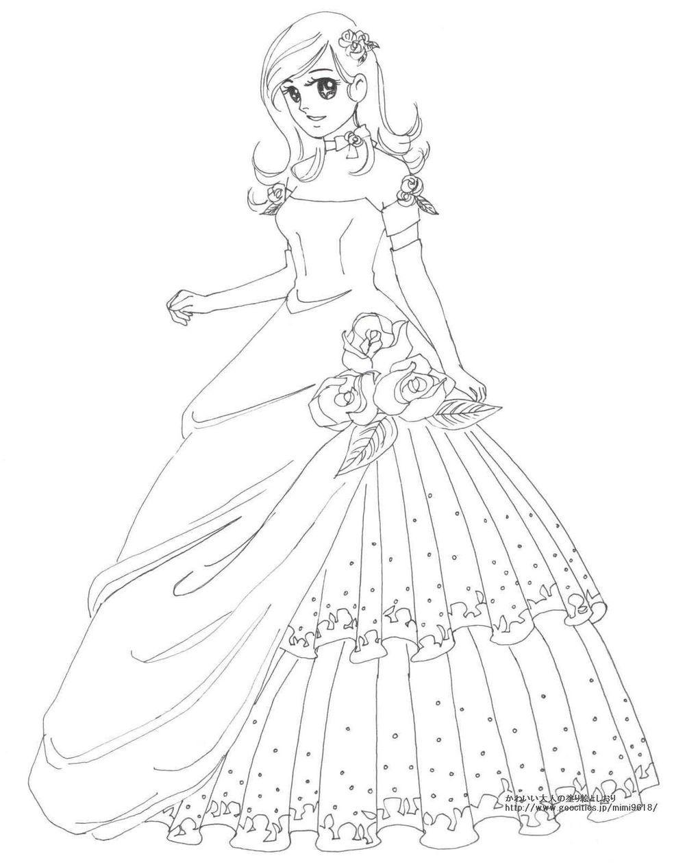 画像 女の子向けお姫様 プリンセスの塗り絵ぬりえ 無料画像