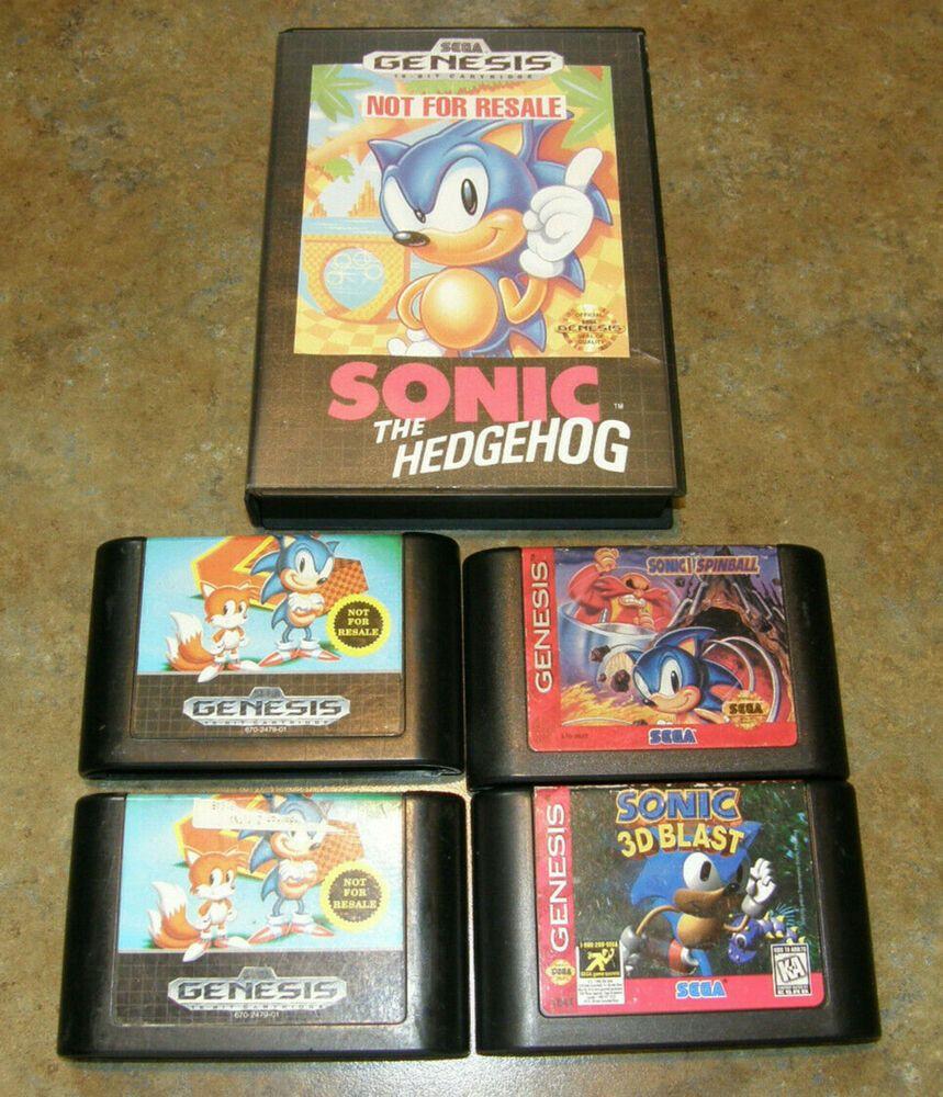 Sega Genesis Vintage Sonic The Hedgehog 1 2 3d Spinball Game