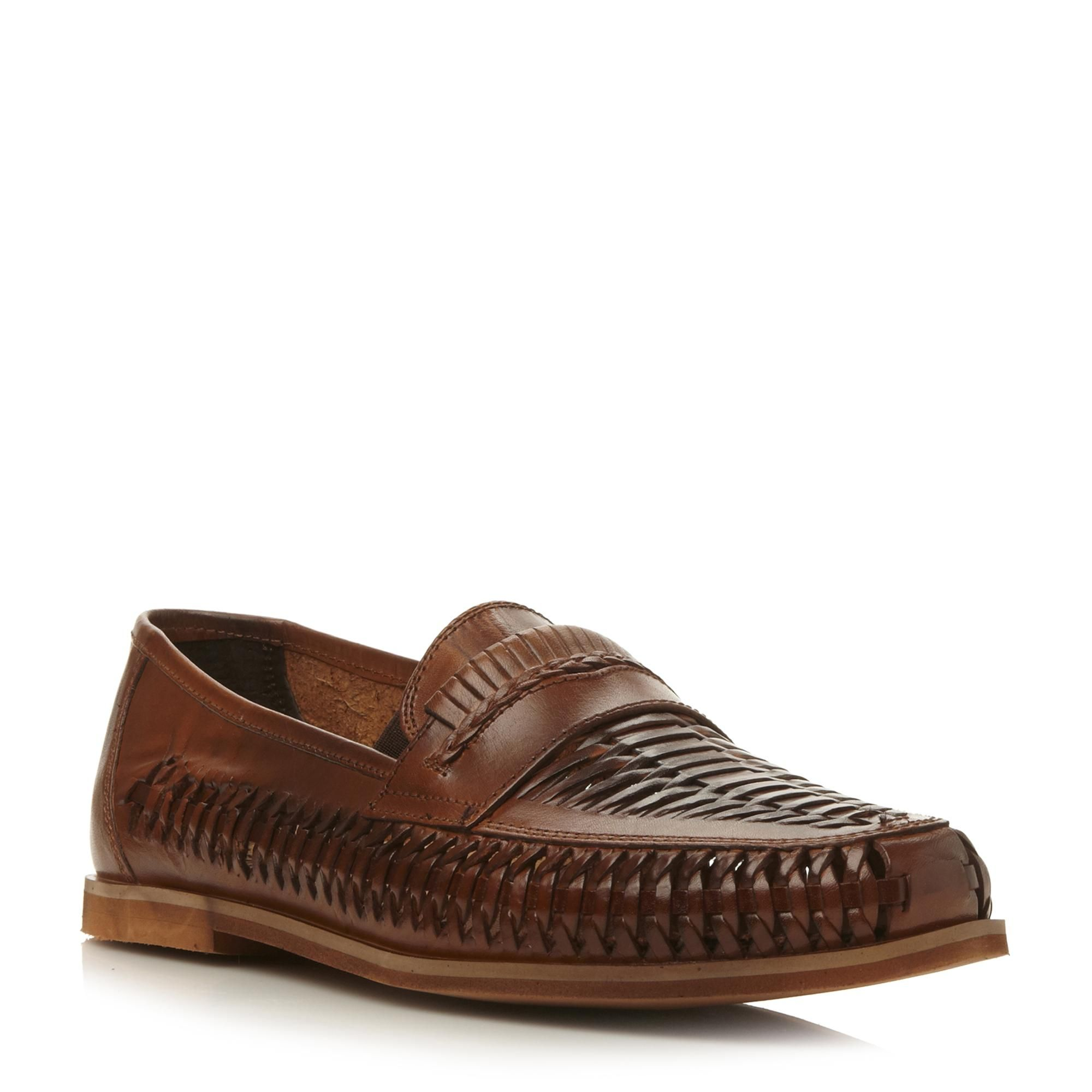 BERTIE MENS BRYANT PARK - Leather Woven Moccasin - tan | Dune Shoes Online