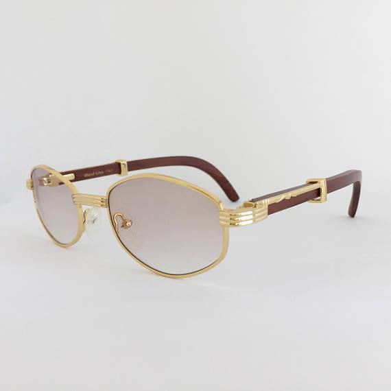 9662621b055 Cartier Style Wood Sunglasses