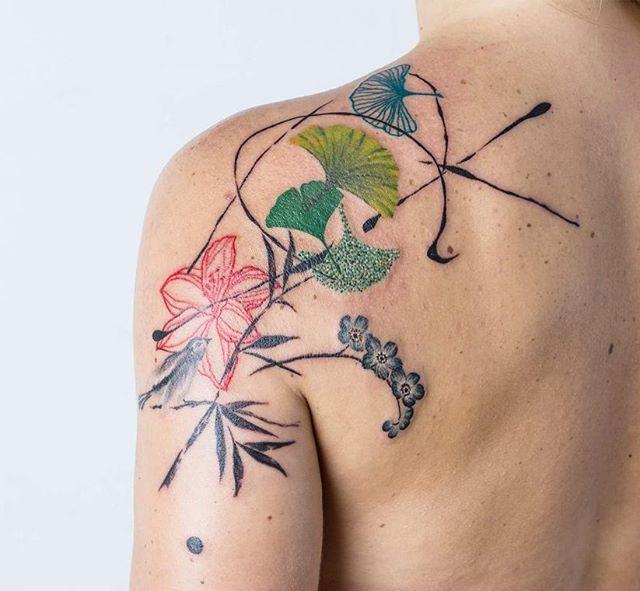 """Composición 20"" for Georgi ♡ #kizun #tattoo #ink #argentina #design #art #paint #bird #tattooedgirl #girltattoo #ginkobiloba #ginko #leaves #naturetattoo #tattrx #equilattera #tattooartistmagazine #tattoo2me #tattoaria #kizunexperience #tattooersubmission #inkedup"